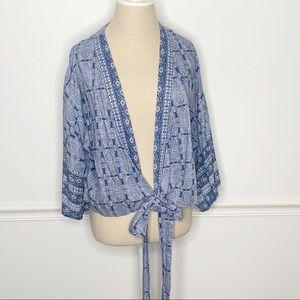 NWOT Japna Kimono Tie Up Shirt Printed Blouse